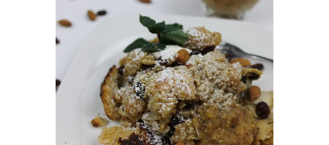 glutenfreier Kaiserschmarrn mit Apfel-Birnen Kompott